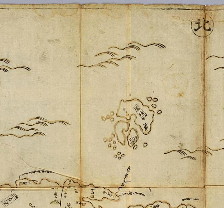 A map of Japan showing Oki Islands (隱岐)as the limit of Japan