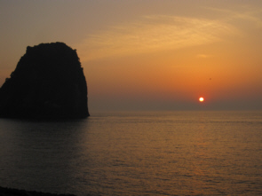 A beautiful sunset on Ulleungdo's North shore near Ddan Rock