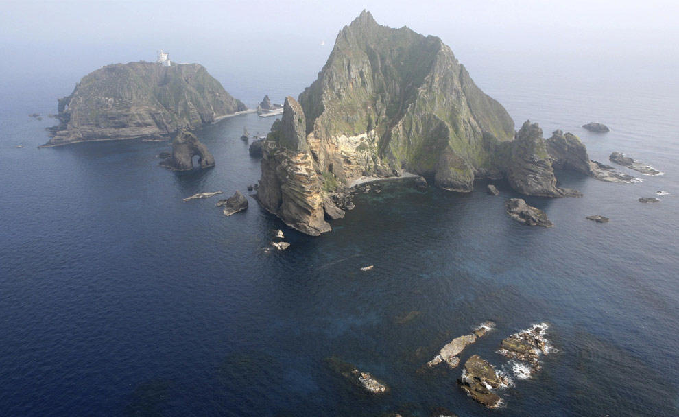 An arial photo of Dokdo Island Liancourt Rocks