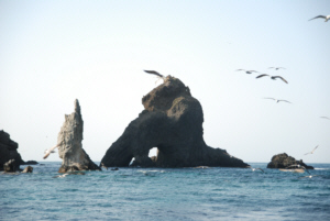Dokdo's Hole Rock as seen from the East Islet  liancourt 독도 たけしま
