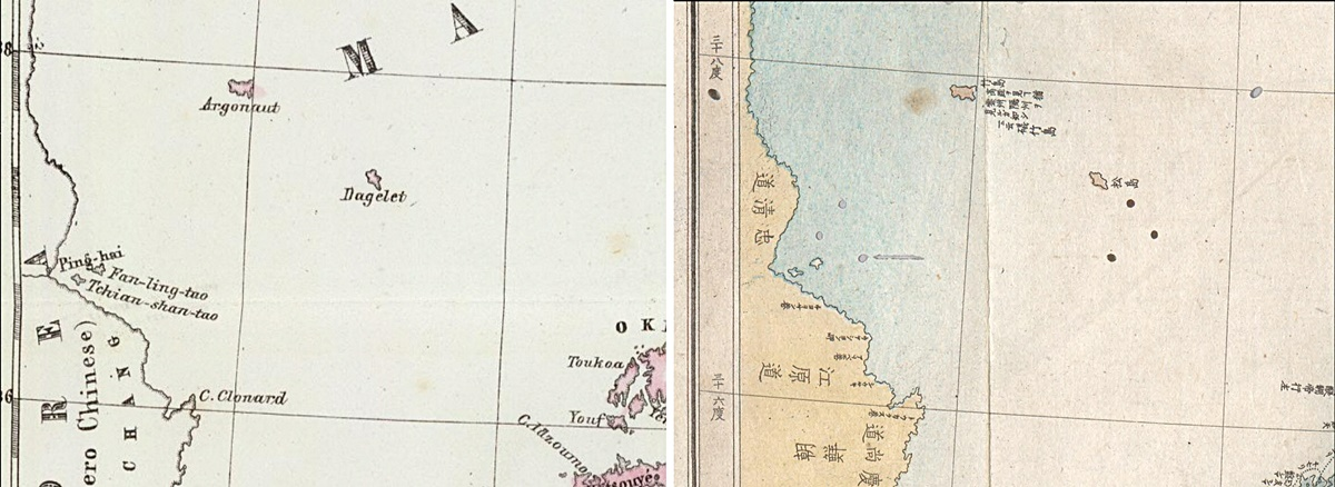 On the left is an 1847 European Map by Marzollo Bendetta showing Argonaut Island and Dagelet. To the right is a Japanese chart which assigned the name Takeshima (竹島 ~ Ulleungdo) to Argonaut and Matsushima (松島 ~ Dokdo) to Dagelet.