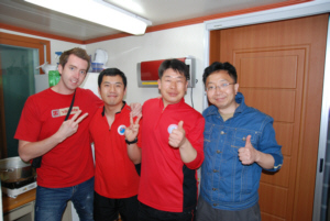 Dokdo Island support team, Ryan Saley and Mr Jin Seong at Dokdo 독도 たけしま