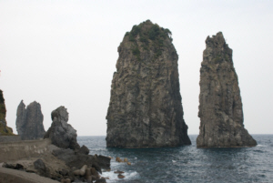 Three Angels Rocks tower on the Northeast tip of Ulleungdo Island's shore