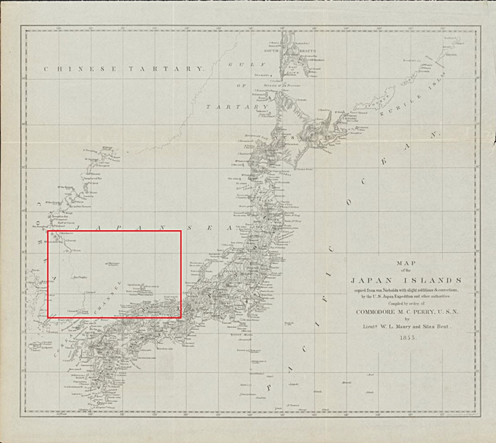 An overview of an 1855 U.S. Navy Map of Japan and Korea this chart was based on the U.S. Naval Expeditions of Mathew C. Perry during the Opening of Port Era.