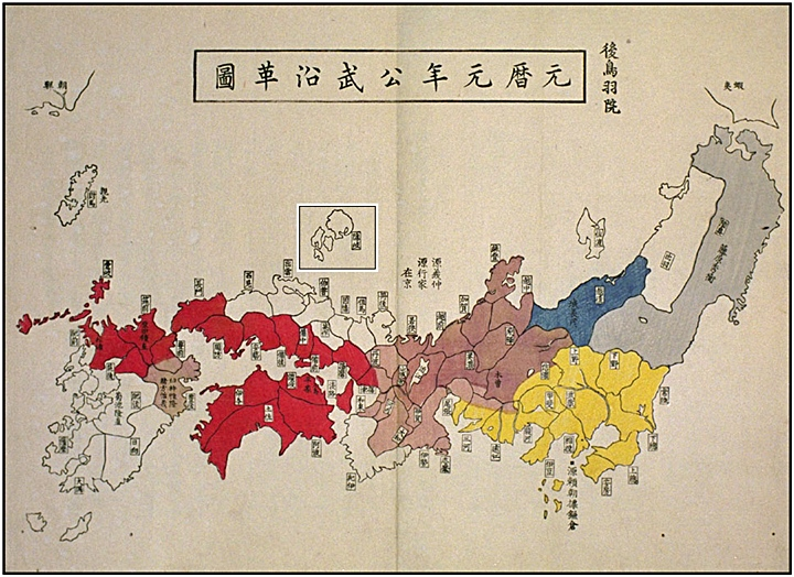 A map of Japan showing Oki Islands as the limit of Japan (隱岐)