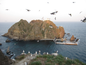 獨島 竹島 From halfway up Dokdo's West Islet looking East