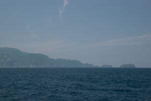 Looking at Ulleungdo's East shore from about 1km East of Dodong Harbour