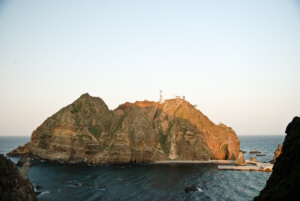 Dokdo East Islet from the top of the West Islet