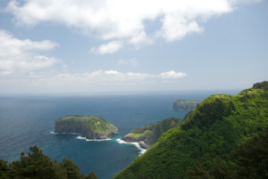 Ulleungdo Island's Northeast point viewing Gwaneum Island and part of Jukdo Islet to the right