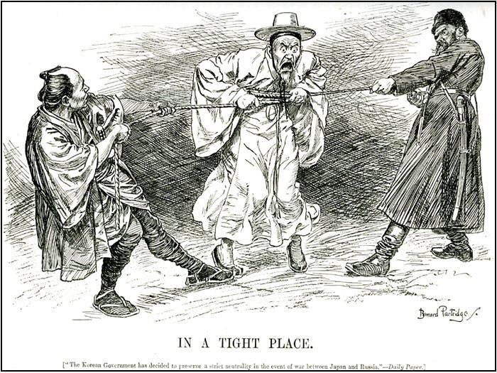 This political cartoon from the early 1900s illustrates Korea's political dilemma.